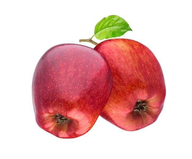 Duas maçãs vermelhas no ramo isolado no branco Foto Premium