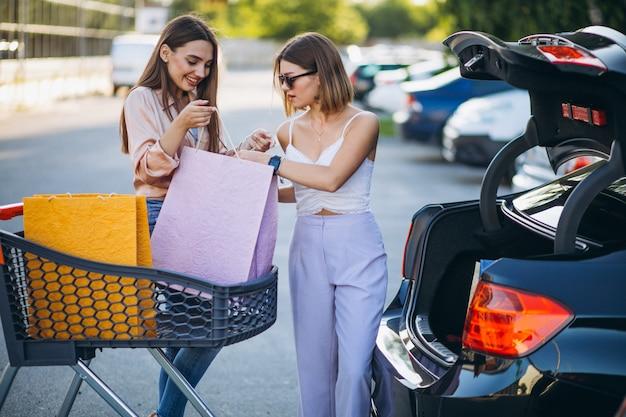 Duas mulheres às compras no mercado com carrinho de compras Foto gratuita