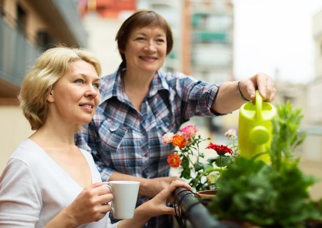 Duas mulheres maduras bebendo chá no terraço Foto gratuita