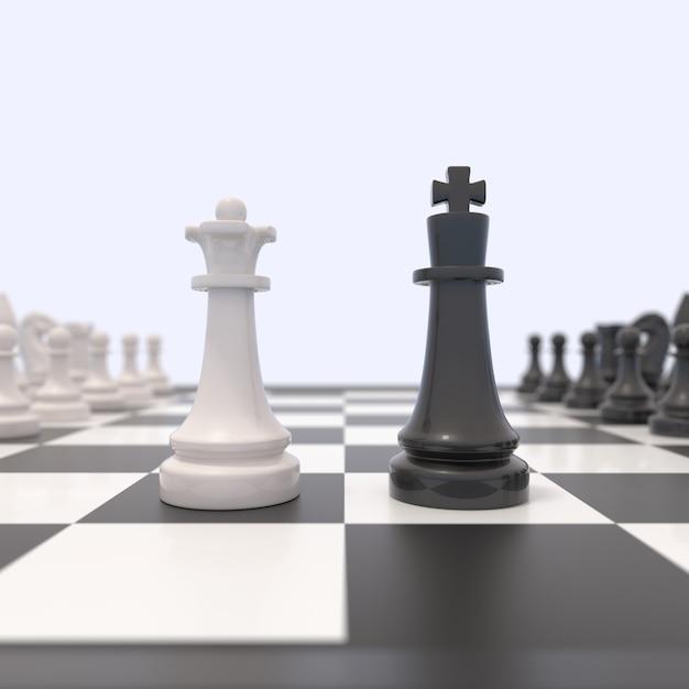 Duas peças de xadrez em um tabuleiro de xadrez Foto Premium