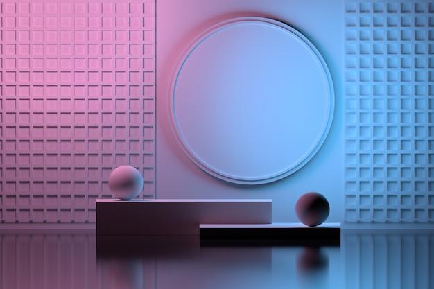 Duplo colorido com composição de apresentação interna em rosa e azul Foto Premium