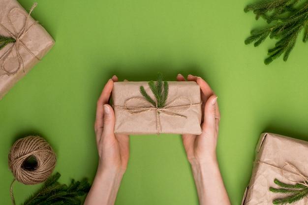 Eco presente com plantas verdes em papel ofício em mãos em uma superfície verde Foto Premium
