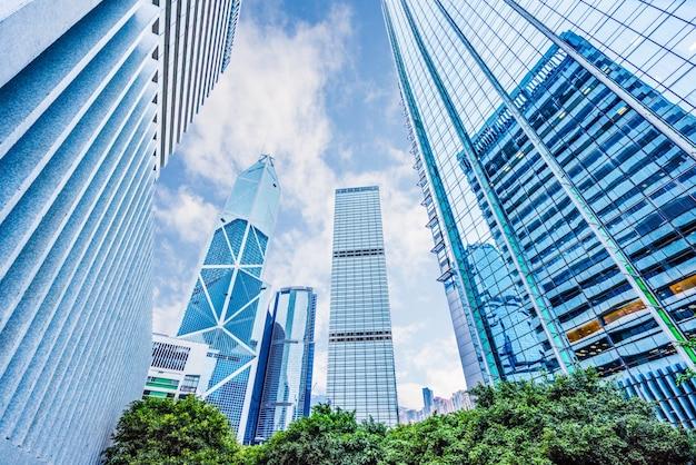 Edifícios da cidade de hong kong, arranha-céus, china Foto Premium