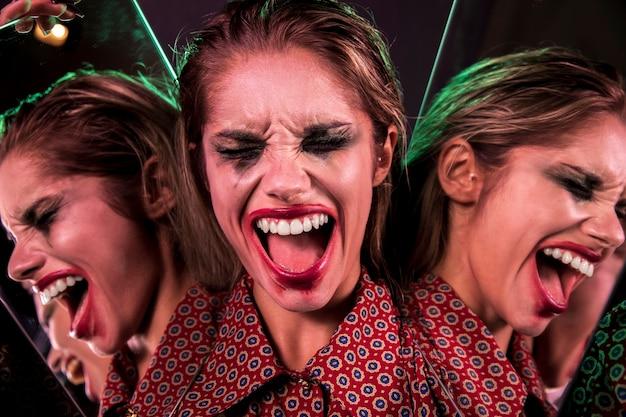 Efeito de espelho múltiplo de mulher gritando Foto gratuita