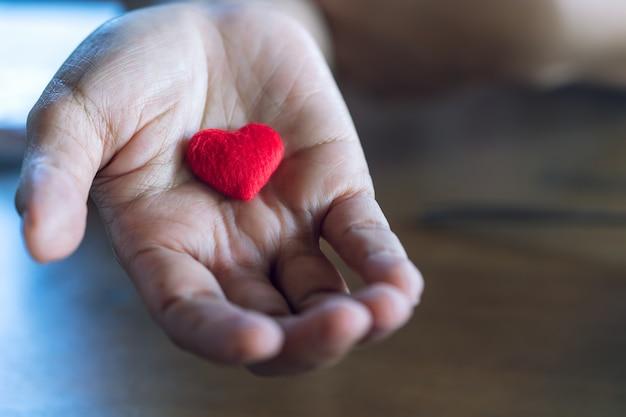 Elder feminino mãos dando um pequeno coração vermelho. Foto Premium
