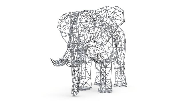 Elefante em um fundo branco. ilustração 3d de baixo polígono. Foto Premium