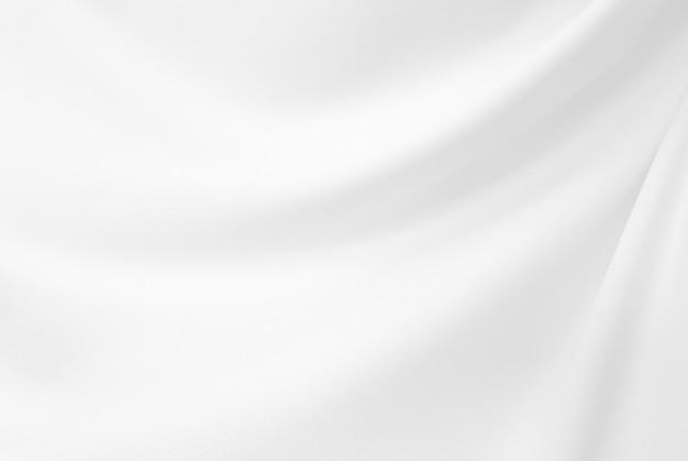 Elegante do close up amarrotado do pano e da textura brancos de tela de seda. Foto Premium