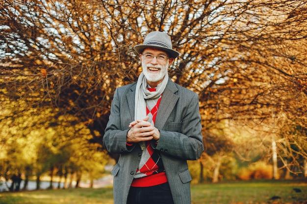Elegante velho em um parque ensolarado de outono Foto gratuita