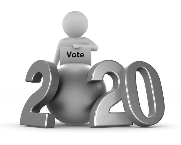Eleições de 2020 no espaço em branco. ilustração 3d isolada Foto Premium