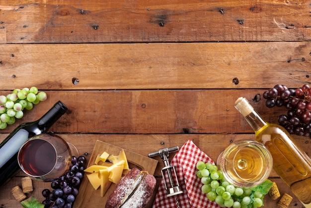 Elementos de degustação de vinhos de vista superior Foto gratuita