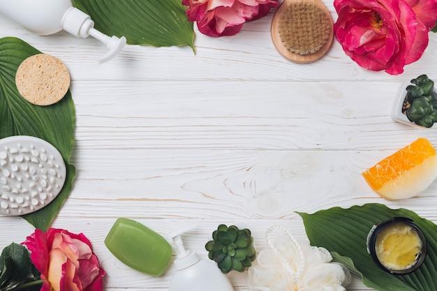 Elementos naturais para spa com sabão Foto gratuita