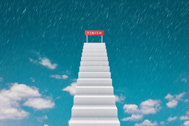 Elevação da escada e linha de chegada no fundo do céu superior com chovendo o conceito de concorrência. Foto Premium