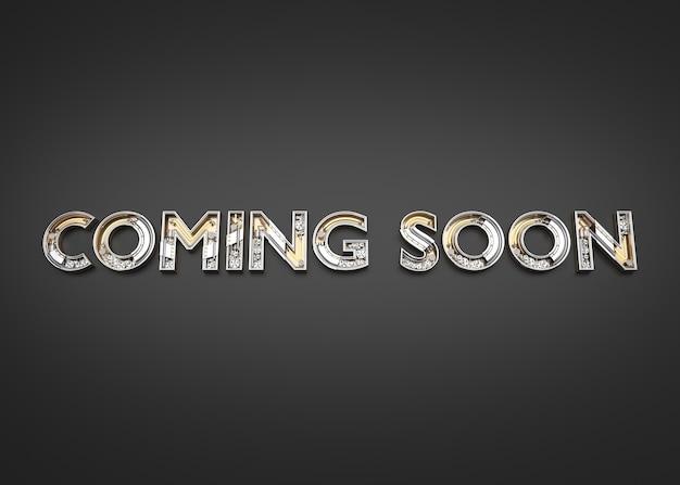 Em breve palavra feita do alfabeto mecânico. ilustração 3d Foto Premium