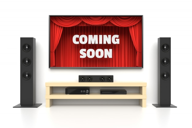 Em breve poster com cinema em casa Foto Premium