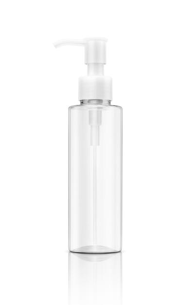 Embalagens em branco cosmético transparente garrafa de plástico transparente isolada Foto Premium