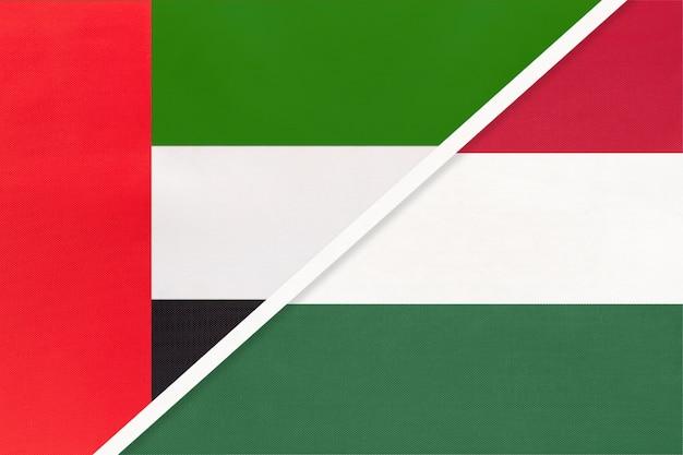 Emirados árabes unidos e hungria, símbolo das bandeiras nacionais Foto Premium