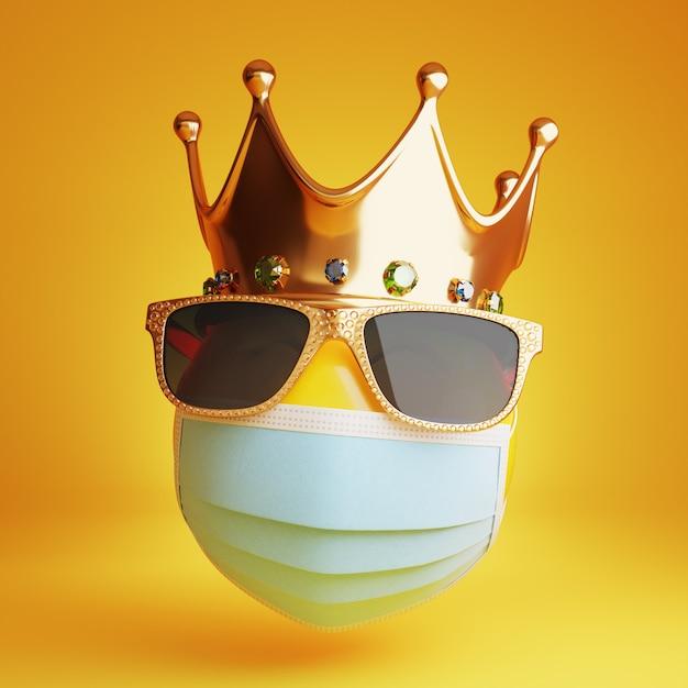 Emoji com máscara médica, óculos de sol e coroa real 3d Foto Premium