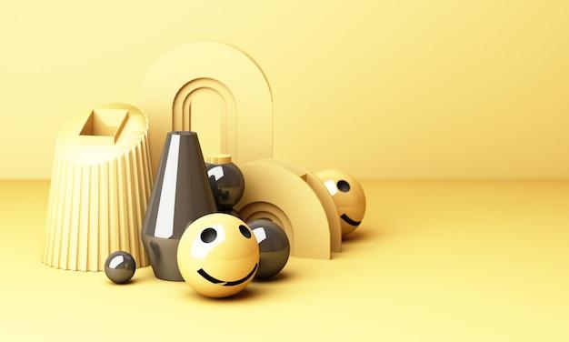 Emoji de rosto sorridente com sorriso em fundo amarelo - emoticon mostrando uma verdadeira sensação de felicidade com forma geométrica amarela renderização em 3d Foto Premium