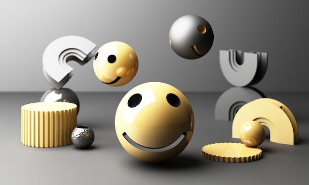 Emoji de rosto sorridente com sorriso em fundo cinza - emoticon mostrando uma verdadeira sensação de felicidade com forma geométrica amarela renderização em 3d Foto Premium