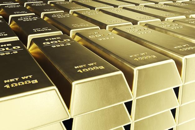 Empilhe barras de ouro close-up, peso de barras de ouro 1000 gramas conceito de riqueza e reserva. conceito de sucesso nos negócios e finanças. renderização em 3d Foto Premium