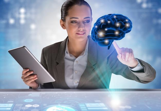 Empresária em inteligência artificial Foto Premium