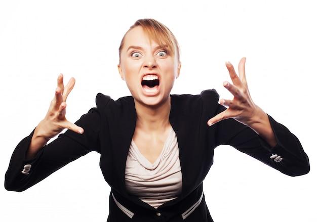 Empresária gritando com raiva Foto Premium