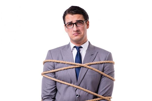 Empresário amarrado com corda isolada Foto Premium