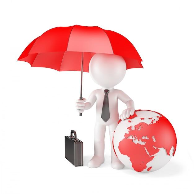 Empresário com guarda-chuva e terra globo. conceito de proteção global Foto Premium