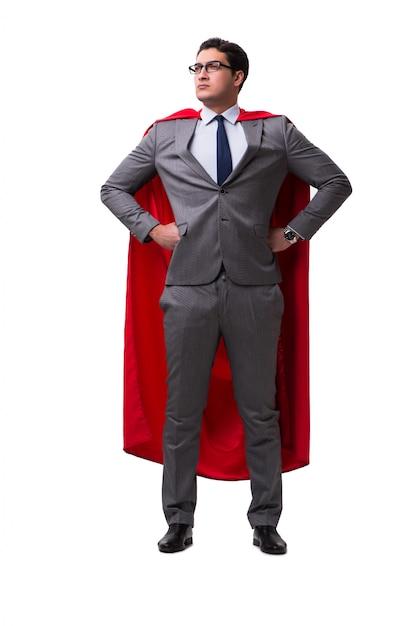 Empresário de super herói isolado Foto Premium