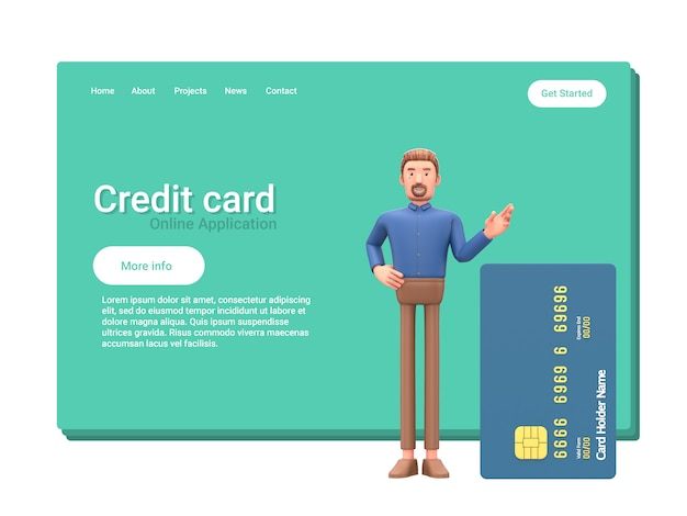 Empresário dos desenhos animados com cartão de crédito. Foto Premium