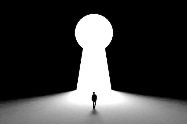 Empresário em miniatura na frente de parede com fundo de porta buraco da fechadura Foto Premium