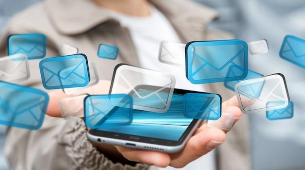 Empresário enviando e-mails com o telefone ³ 3d renderingâ € ™ Foto Premium