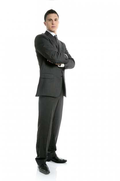 Empresário jovem em pé, comprimento total Foto Premium