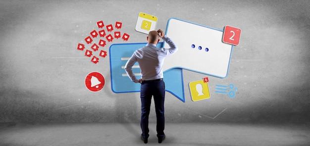 Empresário na frente de um trabalho em equipe de rede social colorfull com renderização de ícone 3d Foto Premium