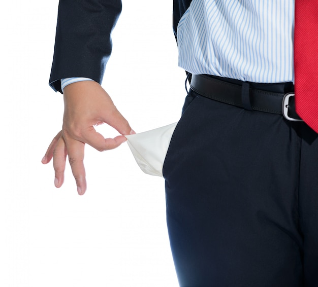 Empresário, puxando para fora do bolso vazio isolado no branco Foto Premium