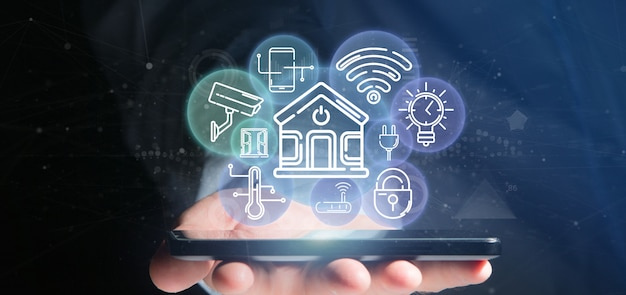 Empresário, segurando a interface de casa inteligente com ícone, estatísticas e dados Foto Premium