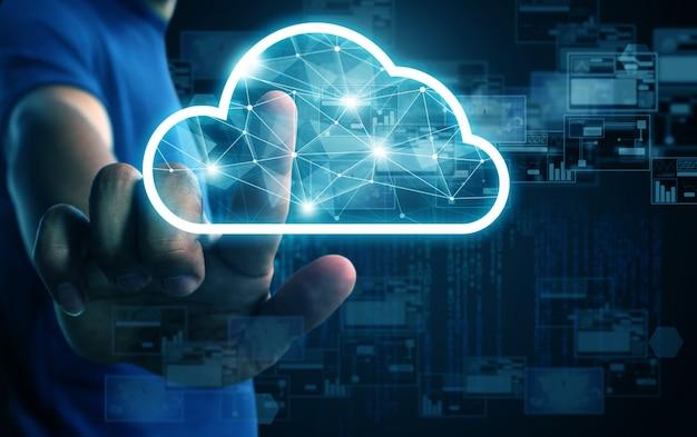 Empresário sistema de nuvem de imprensa Foto Premium