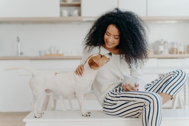 Encantada mulher encaracolada com expressão alegre posa com jack russell terrier cachorro em casa, bebe bebida aromática Foto Premium