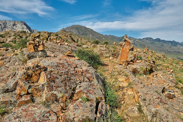 Encosta íngreme de montanha rochosa com arbustos e vista da cordilheira Foto Premium