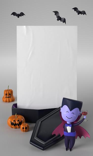 Enfeite de halloween com caixão e drácula Foto gratuita
