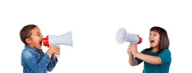 Engraçado, crianças, shouting, através, um, megafone Foto Premium