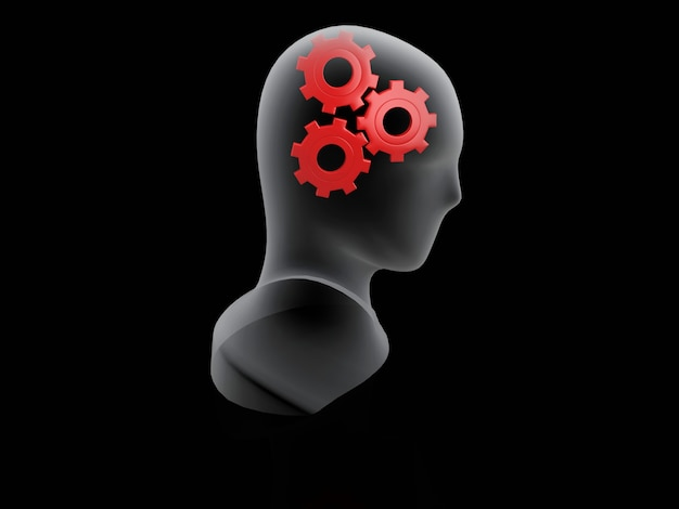 Engrenagem vermelha humana. conceito de cérebro em fundo preto Foto Premium
