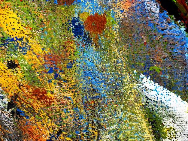 Entregue a tração o fundo colorido do sumário da pintura a óleo da textura em de madeira. Foto Premium