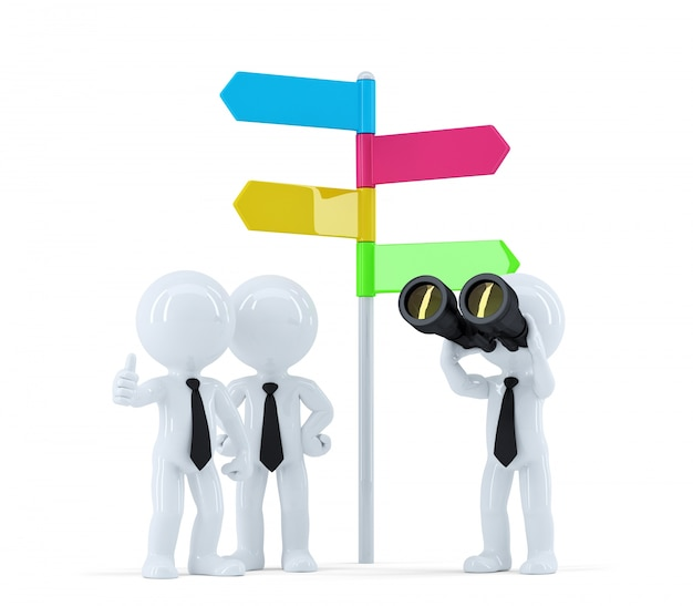 Equipe de negócios com binóculos na frente de um sinal de direção. conceito de negócios. isolado no branco Foto gratuita