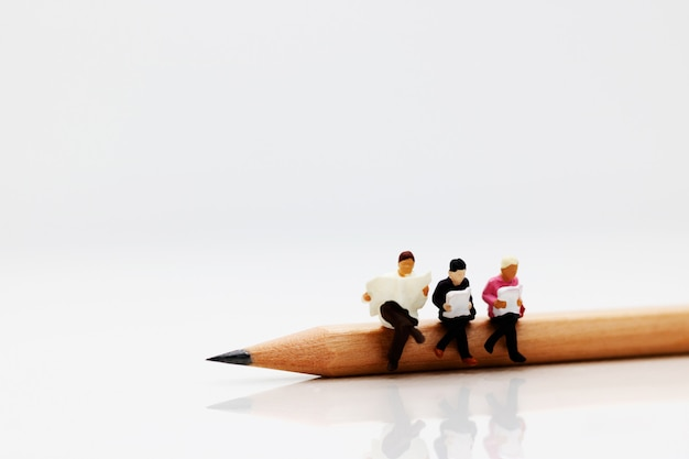 Equipe de negócios em miniatura, sentado no lápis e livro. Foto Premium