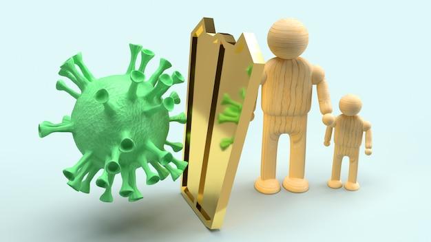 Equipe o protetor de madeira e do ouro para o vírus da proteção, rendição 3d. Foto Premium