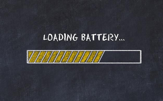 Esboço de placa de giz com barra de progresso e inscrição carregando bateria Foto Premium