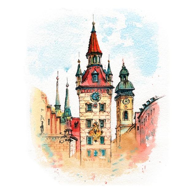 Esboço em aquarela da antiga prefeitura Foto Premium