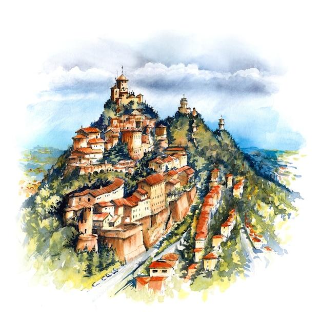 Esboço em aquarela da cidade velha e três fortalezas famosas: torre guaita, cesta e montale no topo do monte titano, república de san marino Foto Premium