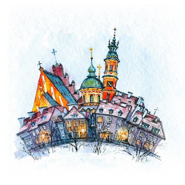 Esboço em aquarela da cidade velha em dia de inverno, varsóvia, polônia Foto Premium